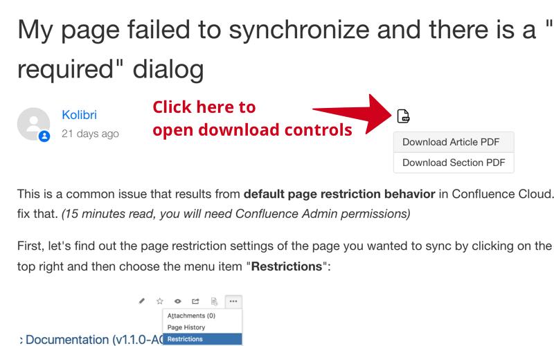 Knowledge Print : PDF Download Controls